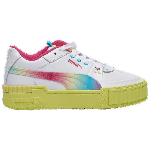 PUMA Cali Sport - Women's Tennis Shoes - White / Sunny Lime - 37459101-100,37459101