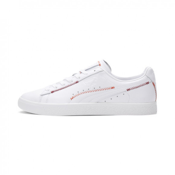 PUMA Clyde Stitch Sneakers in PWhite/Red Dahlia/Warm Earth - 375888-01
