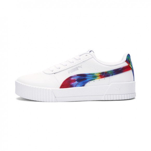 PUMA Carina Tie Dye Sneakers JR in White/Metallic Silver - 380323-01