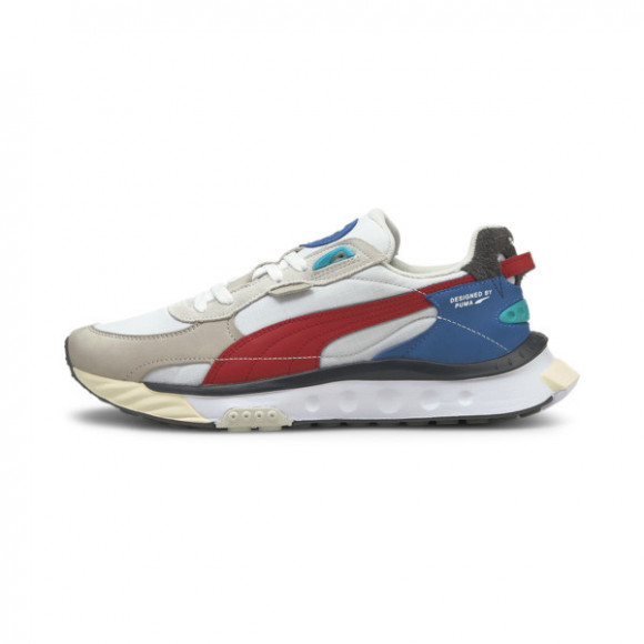 PUMA Wild Rider Layers Sneakers in White/Urban Red - 380697-01