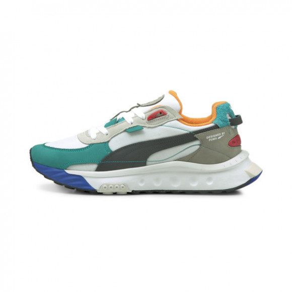 PUMA Wild Rider Layers Sneakers in White/Viridian Green - 380697-02