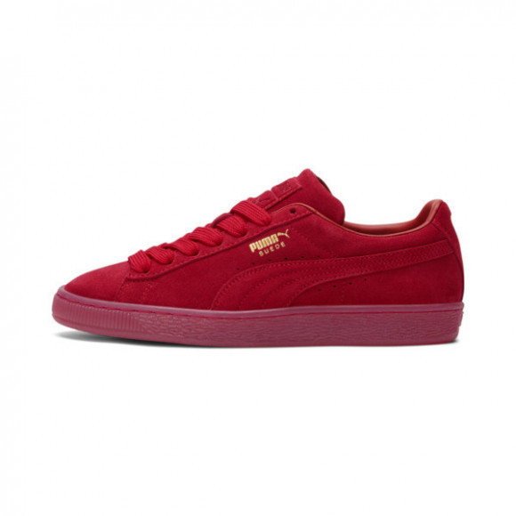 PUMA Suede Classic Mono Gold Sneakers JR in Barbados Cherry/Gold - 381470-01