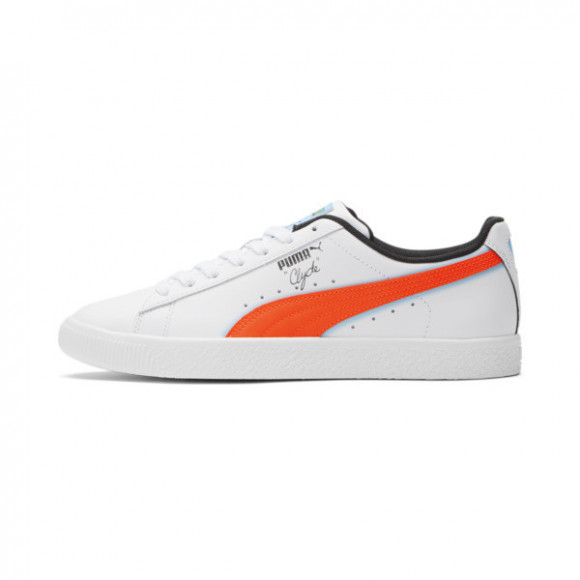 PUMA Clyde Airbrush Men's Sneakers in White/Rd Blt/Lmns Bl - 382773-01