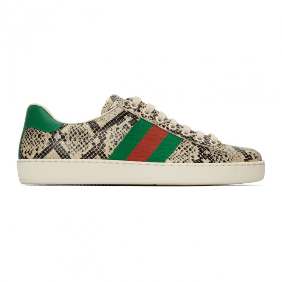 Gucci Beige Python Ace Sneakers - 386750-19Y30