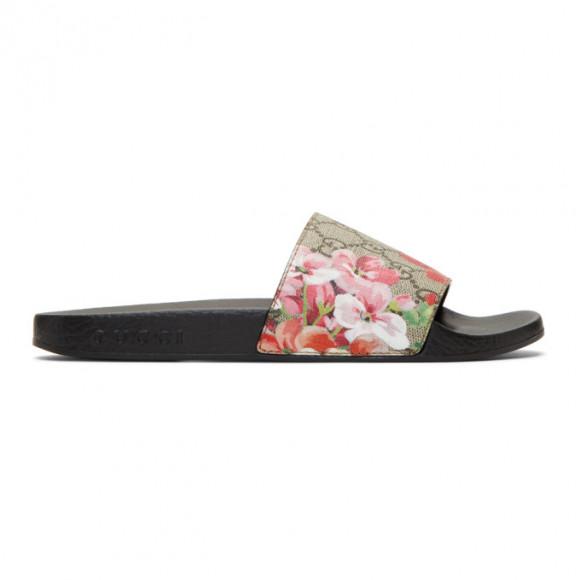 Gucci Multicolor Floral GG Supreme Slides - 408508-KU200