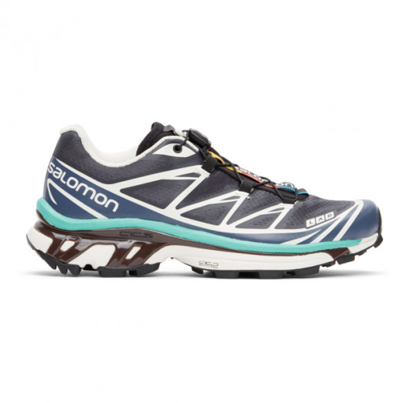 Salomon Grey and Blue XT-6 Advanced Sneakers - 412637