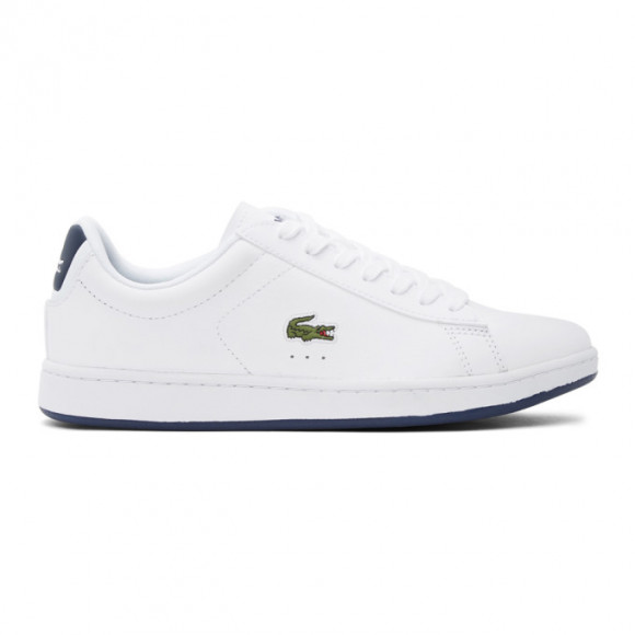 Lacoste White and Navy Carnaby Evo Sneakers - 41SMA0003