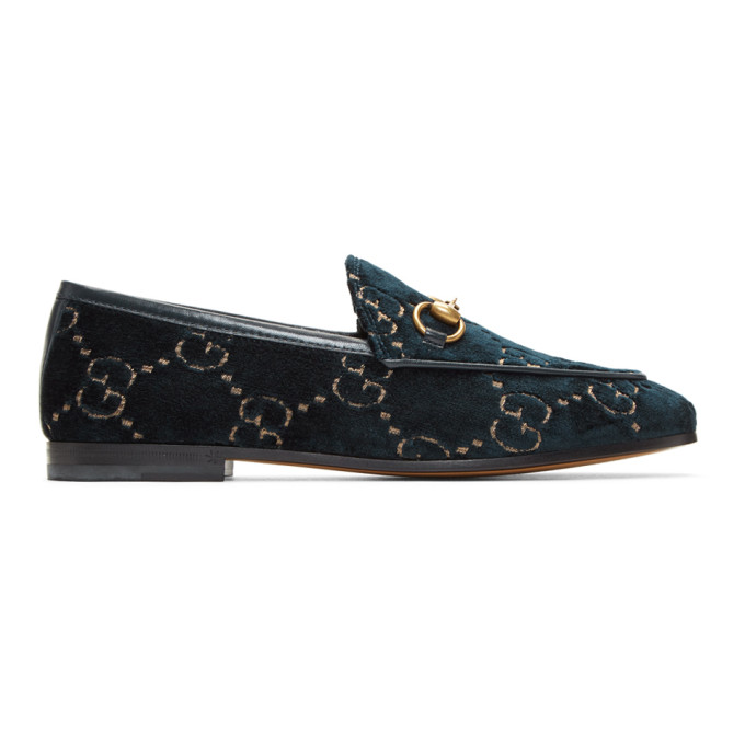 Gucci Black Velvet Jordaan Loafers - 431467 9JT20