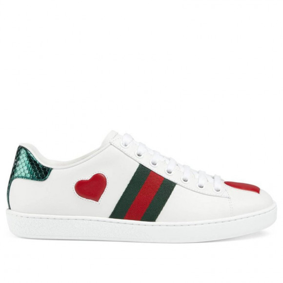 Womens Gucci Ace Low 'Heart' White/Green/Red WMNS Sneakers/Shoes 435638-02JS0-9074 - 435638-02JS0-9074