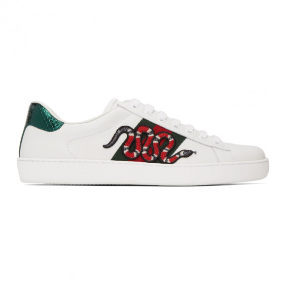 Gucci White Embroidered Ace Sneakers - 456230-02JP0
