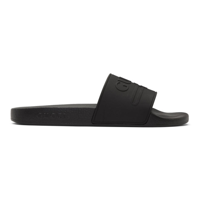 Gucci Black Vintage GG Pool Slides - 522887 JCZ00