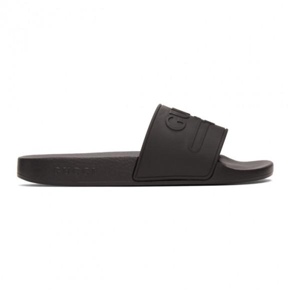 Gucci Black Rubber Interlocking G Pool Slides - 522887-JCZ00