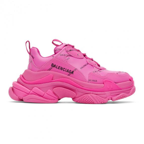 Balenciaga Pink Allover Logo Triple S Sneakers - 524039-W2FA1