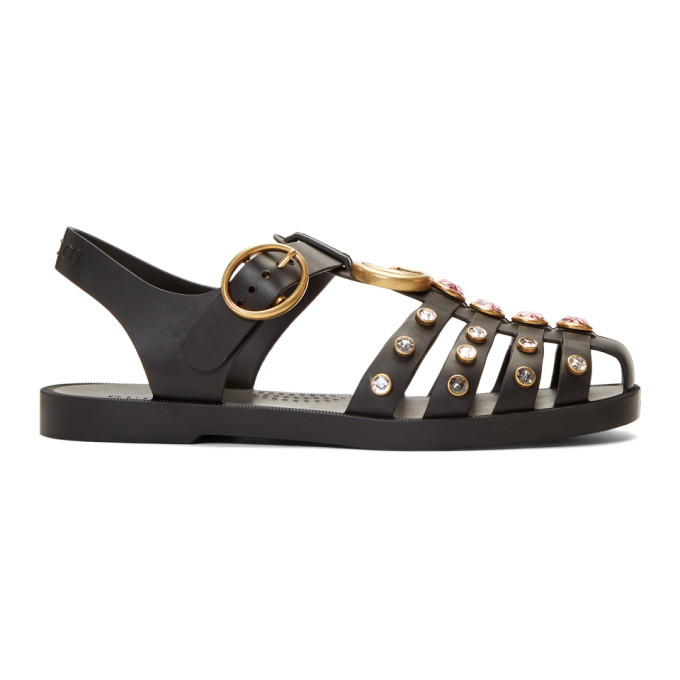 Gucci Off-White Studded Jelly GG Cage Sandals - 525355 J8700
