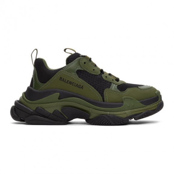 Balenciaga Black and Khaki Triple S Sneakers - 536737-W2CA1