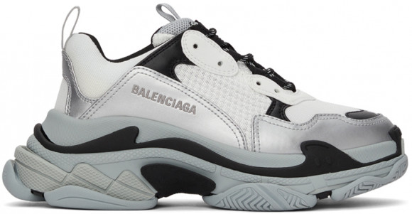 Balenciaga White & Silver Triple S Sneakers - 536737-W2FS5-1250