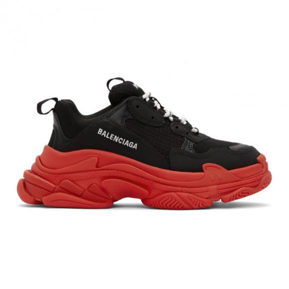Balenciaga Black and Red Triple S Sneakers - 536737-W2FZ1