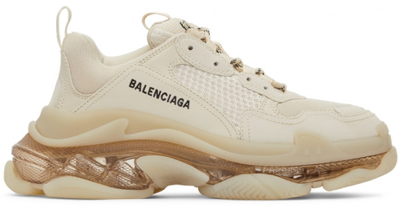 Balenciaga Beige Clear Sole Triple S Sneakers - 541624-W2FB1-9005