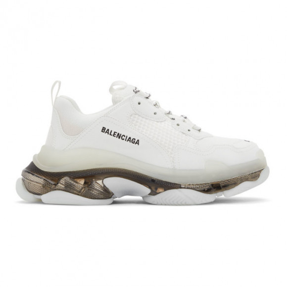 Balenciaga White and Black Clear Sole Triple S Sneakers - 541624-W2FR2