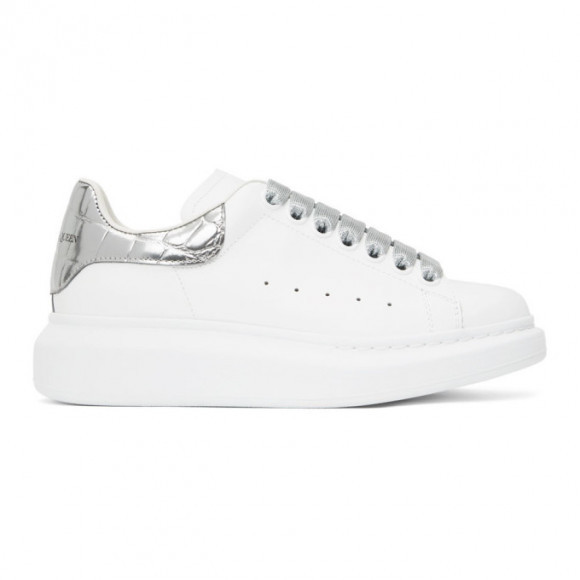 Alexander McQueen SSENSE Exclusive White and Silver Croc Tab Oversized Sneakers - 553770-WIA4A