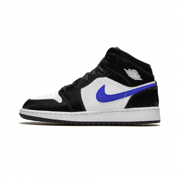 Boys Jordan Jordan AJ 1 Mid - Boys' Grade School Shoe Black/Racer Blue/White Size 07.0 - 554725-084