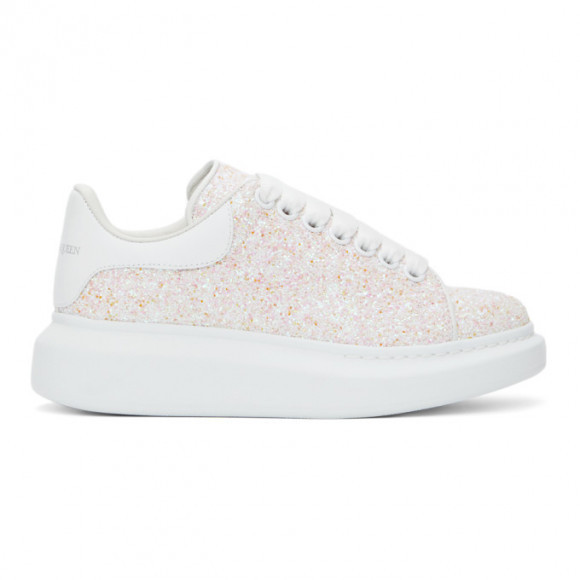 Alexander McQueen Pink and White Glitter Oversized Sneakers - 558944W4Q11