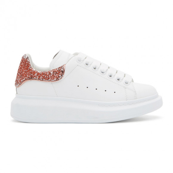 Alexander McQueen SSENSE Exclusive White and Rose Gold Glitter Oversized Sneakers - 558945WHZ46