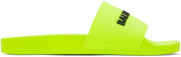 Balenciaga Yellow Logo Pool Slides - 565547-W1S82
