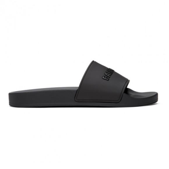 Balenciaga Black Logo Pool Slides - 565547-W1S84