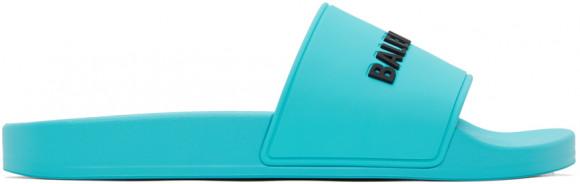 Balenciaga Blue Logo Pool Slides - 565826-W1S80-4660