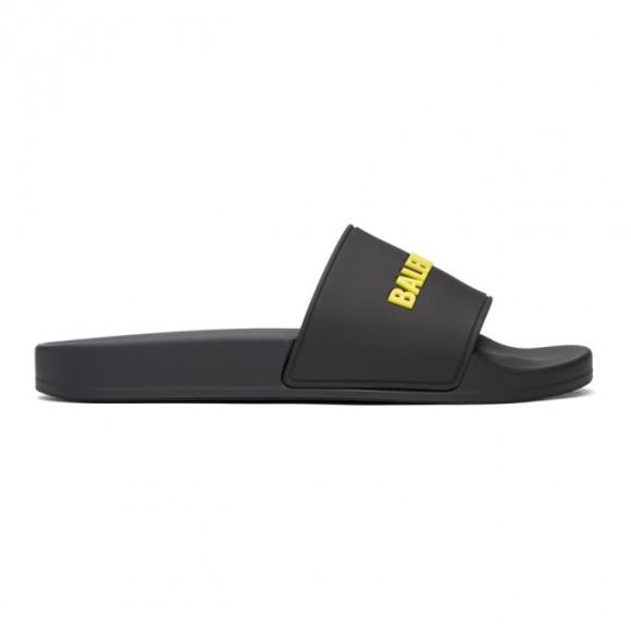 Balenciaga Black and Yellow Logo Pool Slides - 565826-W1S81