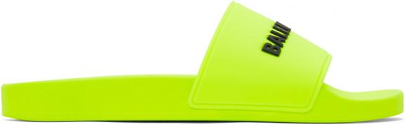Balenciaga Yellow Logo Pool Slides - 565826-W1S82-7321