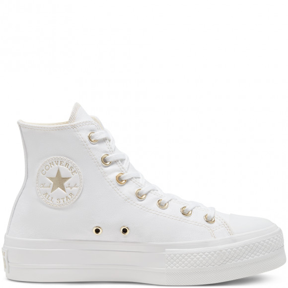 Converse Elevated Gold Platform Chuck Taylor All Star High Top para mujer White, Gold - 568380C
