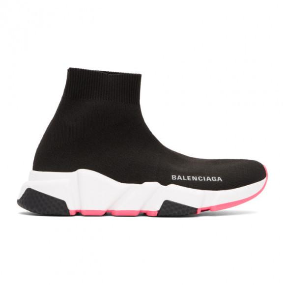 Balenciaga Black and Pink Speed Sneakers - 587280-W2DBB