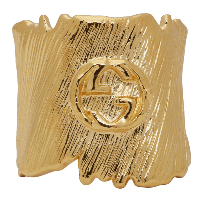 Gucci Gold Small Interlocking G Ring - 589125 I4600