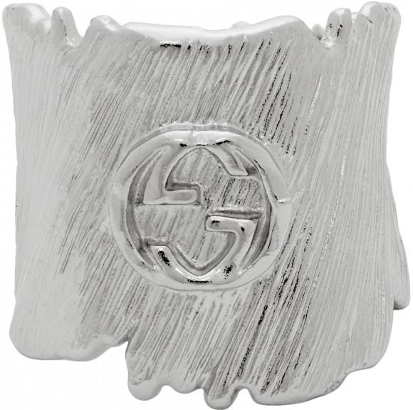 Gucci Silver Interlocking G Textured Band Ring - 589125-I4601