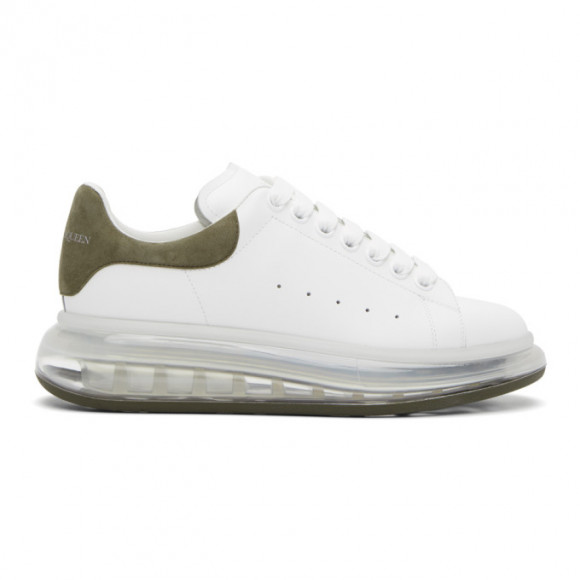 Alexander McQueen White and Orange Clear Sole Oversized Sneakers - 604232WHXMA
