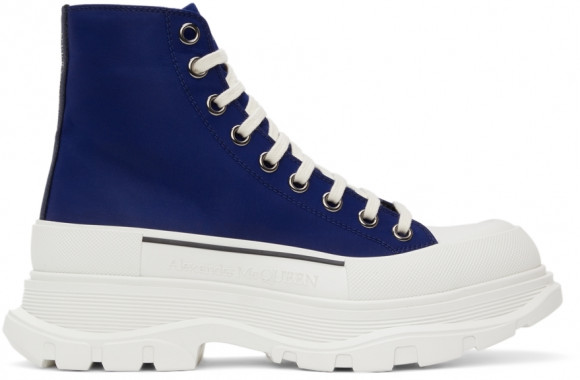 Alexander McQueen Blue Tread Slick High Sneakers - 604254W4IF1