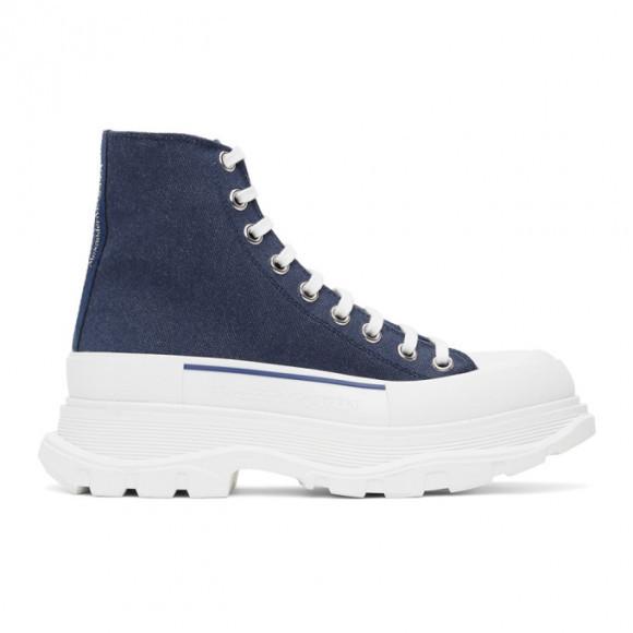 Alexander McQueen Indigo Denim Tread Slick Boots - 604254W4PD1