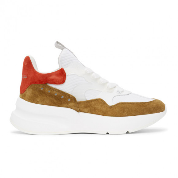 Alexander McQueen White and Brown Oversized Sneakers - 604281WHZ24
