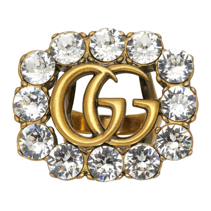 Gucci Gold Crystal GG Marmont Ring - 605820 J1D50