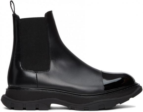 Alexander McQueen Black Shiny Toe Chelsea Boots - 610814-WHZ82