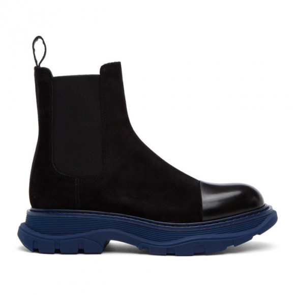 Alexander McQueen SSENSE Exclusive Black and Blue Suede Chelsea Boots - 610814WHBGY1111
