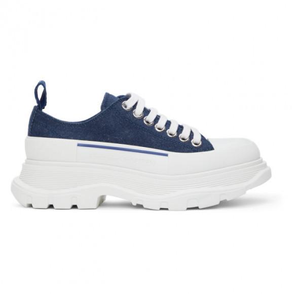 Alexander McQueen Indigo Denim Tread Slick Low Sneakers - 611705-W4PD1