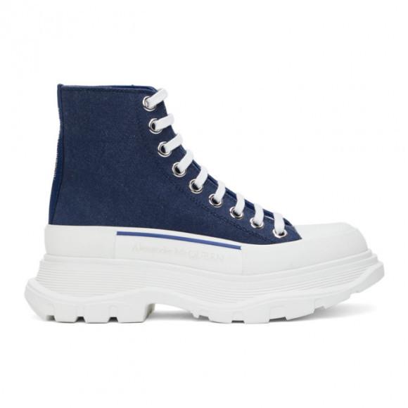 Alexander McQueen Indigo Denim Tread Slick High Sneakers - 611706-W4PD1