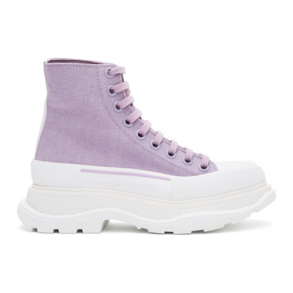 Alexander McQueen SSENSE Exclusive Purple Tread Slick Platform High Sneakers - 611706W4ML3