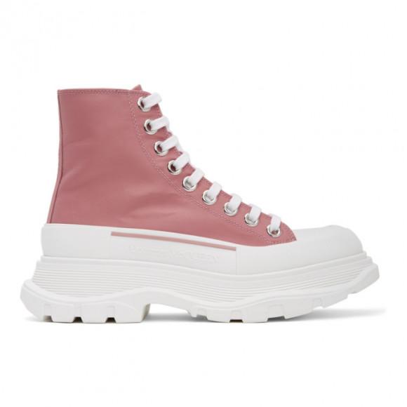 Alexander McQueen Pink Satin Tread Slick Boots - 611706W4PU1