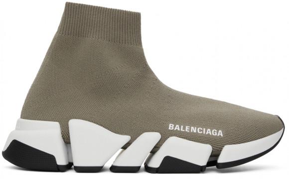 Balenciaga Taupe & White Speed 2.0 Sneakers - 617196-W2DB2