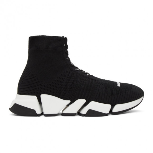 Balenciaga Black and White Speed 2.0 Lace-Up Sneakers - 617258-W1702-1015