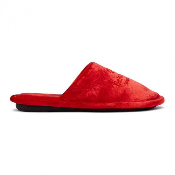 Balenciaga Red Velvet Home Loafers - 617603-W2BS1-6501